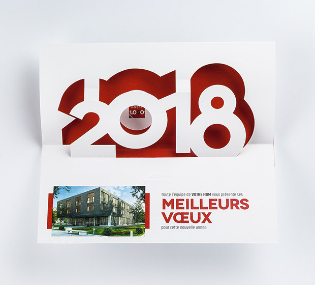 Carte de voeux volumes pop up 2018 votre photo cr id o - Carte de voeux pop up ...